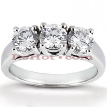 Thin 18K Gold Diamond Three Stones Engagement Ring 0.99ct