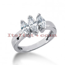 Thin 18K Gold Diamond Three Stones Engagement Ring 1.24ct