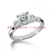 Thin 18K Gold Diamond Three Stones Engagement Ring 1.40ct