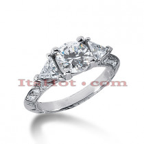 Thin 18K Gold Diamond Three Stones Engagement Ring 1.58ct