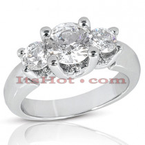 18K Gold Diamond Three Stones Engagement Ring 1.82ct