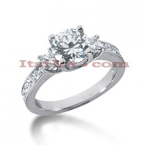 Thin 18K Gold Diamond Three Stones Engagement Ring 2.28ct
