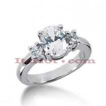 Thin 18K Gold Diamond Three Stones Engagement Ring 2.30ct