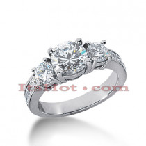 Thin 18K Gold Diamond Three Stones Engagement Ring 2.35ct