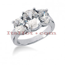 Thin 18K Gold Diamond Three Stones Engagement Ring 3.50ct