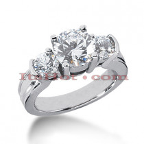 18K Gold Diamond Three Stones Engagement Ring 3ct