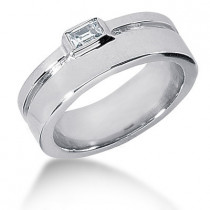 18K Gold Emerald Cut Diamond Men's Wedding Ring 0.33ct