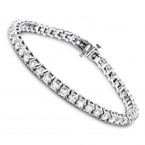 18K Gold Inline Round Diamond Tennis Bracelet for Women 6.69ct VS Diamonds