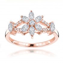 Unique 18K Gold Ladies Diamond Ring Flower Design 0.91ct by Luxurman