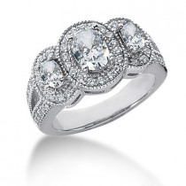 18K Gold Ladies Diamond Ring 1.79ct