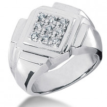 18K Gold Men's Diamond Ring 0.27ct