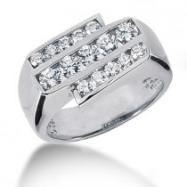 18K Gold Men's Diamond Ring 1.25ct
