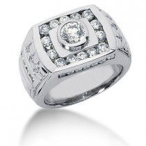 18K Gold Men's Diamond Ring 1.86ct