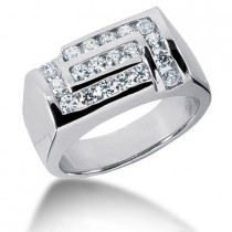 18K Gold Men's Diamond Ring 1ct