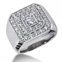 18K Gold Men's Diamond Ring 2.99ct
