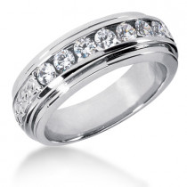 18K Gold Men's Diamond Wedding Band 0.84ct