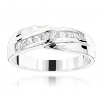 18K Gold Men's Diamond Wedding Band 1ct