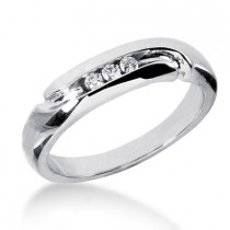 18K Gold Men's Diamond Wedding Ring 0.09ct