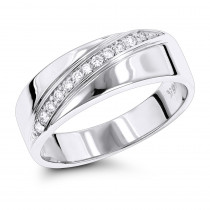 18K Gold Men's Diamond Wedding Ring 0.12ct