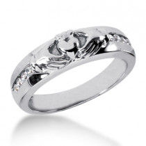 18K Gold Men's Diamond Wedding Ring 0.24ct