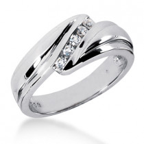 18K Gold Men's Diamond Wedding Ring 0.25ct