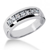 18K Gold Men's Diamond Wedding Ring 0.28ct