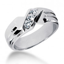 18K Gold Men's Diamond Wedding Ring 0.30ct