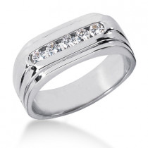 18K Gold Men's Diamond Wedding Ring 0.35ct