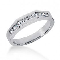 Thin 18K Gold Men's Diamond Wedding Ring 0.40ct