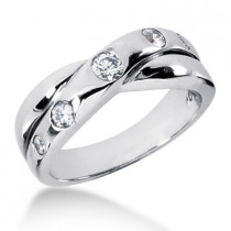 18K Gold Men's Diamond Wedding Ring 0.45ct