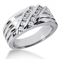 18K Gold Men's Diamond Wedding Ring 0.48ct