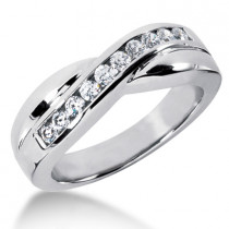 18K Gold Men's Diamond Wedding Ring 0.55ct