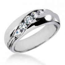 18K Gold Men's Diamond Wedding Ring 0.64ct