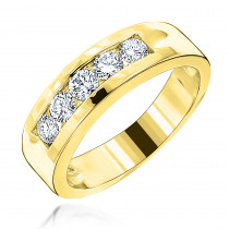 18K Gold Men's Diamond Wedding Band 5 Stone Anniversary Ring 0.75ct