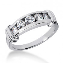 18K Gold Men's Diamond Wedding Ring 0.89ct