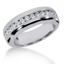 18K Gold Men's Diamond Wedding Ring 0.98ct