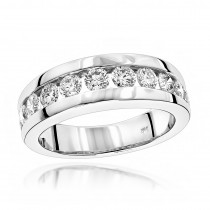 18K Gold Men's Diamond Wedding Ring 1.10ct