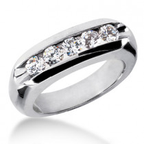 18K Gold Men's Diamond Wedding Ring 1.25ct