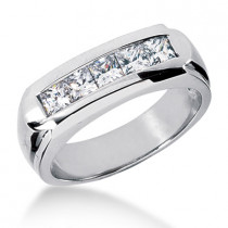 18K Gold Men's Diamond Wedding Ring 1ct