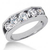 18K Gold Men's Diamond Wedding Ring 2.10ct