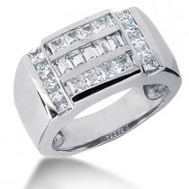 18K Gold Men's Princess & Baguette Diamonds Ring 1.85ct