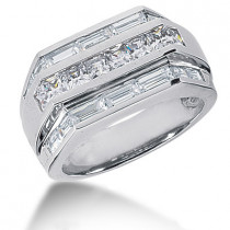 18K Gold Men's Princess & Baguette Diamonds Ring 2.76ct