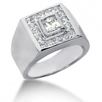 18K Gold Men's Princess Diamonds Ring 1.62ct