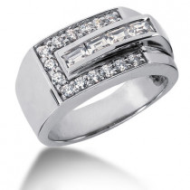 18K Gold Men's Round & Baguette Diamonds Ring 0.90ct