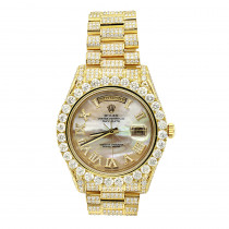 18K Gold Oyster Perpetual Iced Out Rolex Diamond Watch for Men 20ct