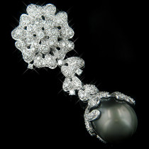 18K White Gold Black Pearl & Diamond Brooches or Pendant Collection Item