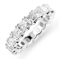 Thin 18K Gold Princess Cut Diamond Eternity Ring 3.18ct