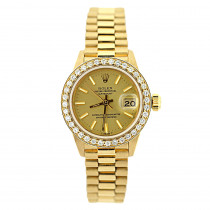 18K Gold Rolex Presidential Datejust Ladies Diamond Watch 1.2ct