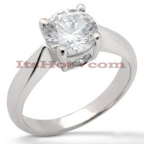 18K Gold Round Diamond Engagement Ring 0.87ct