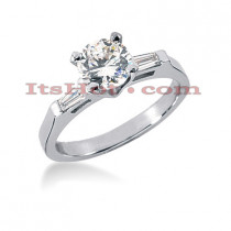 18K Gold Round Diamond Engagement Ring 0.89ct